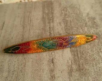 Antique Guilloche enamel bar pin brooch rainbow