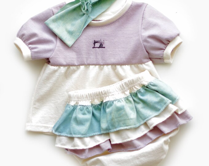 Organic Baby Welcome Home Set in Purple / Baby Shower Girl / Purple and Teal Baby Gift Set / Tunic - Ruffled Diaper-cover- Headband Gift Set