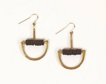 Forged bronze arc earrings with black ceramic beading | FRIDA