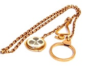 Antique Watch Chain with Four Leaf Clover Fob, 19 Inch Chain,Gold Filled