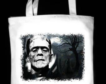 "Frankenstein's Monster In The Woods 13"" x 13"" CanvasTote Bag - Original Graphite Portrait"