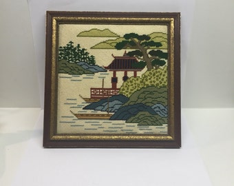 Vintage Oriental Needlepoint Framed Pagoda Asian scene  9 x 9