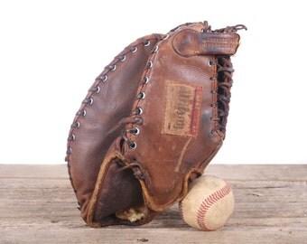 Old Leather Baseball Glove / Vintage Baseball Glove / Retro Wilson Baseball Glove / Antique Baseball Glove / Old Glove Antique Mitt
