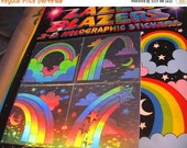 ON SALE Rare Vintage Lazer Blazers Rainbow Hologram Sticker Pack - 80's New in Package Holographic Silver Reflective Shooting Star Cloud