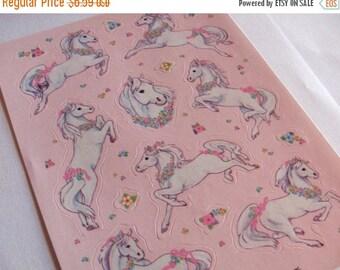 SALE Rare Vintage Hallmark Fantastical Pony Sticker Sheet - 80's Horse Unicorn Pink Flower Fantasy