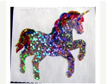 SALE Two Vintage Hambly Glitter Unicorn Stickers - 80's Collectible Fantasy Sparkle Rainbow Mane Silver Reflective