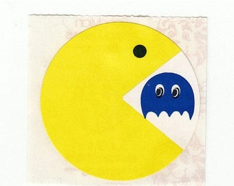 SALE Vintage Sandylion Pac-Man Sticker - Arcade Rare Kromekote Retro 80's Video Game Pacman Pac Man Blue Ghost Scrapbook