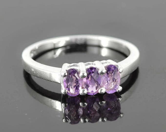 Amethyst Ring, 0.8 ct, Purple, Oval Cut, Birthstone Ring, February, Gemstone Ring, Sterling Silver Ring, Solitaire Ring, Statement Ring