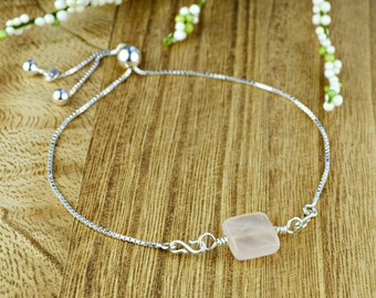 Square Faceted Rose Quartz Gemstone Bead Adjustable Sterling Silver Interchangeable Charm/Link Bolo Bracelet- Charm, Bracelet Chain, or Both