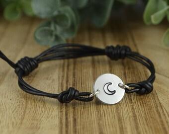 Moon Leather Adjustable Bracelet- Hand Stamped Sterling Silver Filled Bracelet- Black or Brown Leather