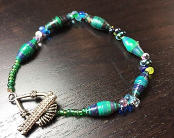 CLEARANCE !!! BeadforLife Ocean Droplet Bracelet in Blue and Green