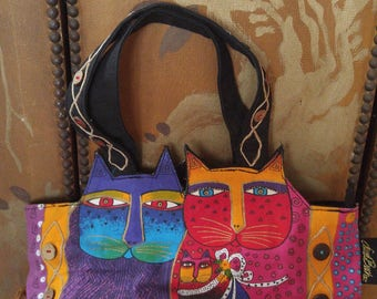 90s Laurel Burch colourful cat tote / hand bag