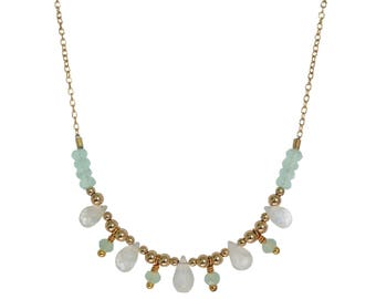 Naiad Moonstone & Aqua Necklace