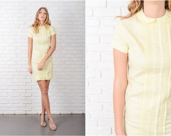 Vintage 60s Yellow Dress Peter Pan Collar Shift Mini Lace Short Sleeve XS 8728