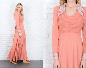 Vintage 70s Pink Maxi Dress Feather Print Plaid Boho Small S 9331