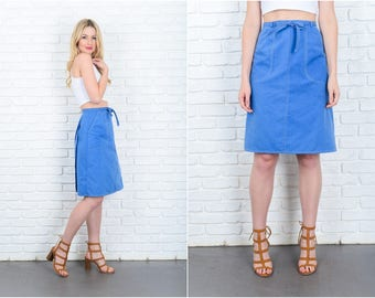 Vintage 70s Blue A Line Skirt Wrap Mod High Waist Small S 9425