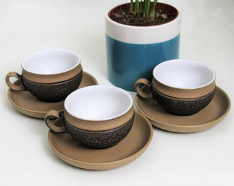 Set of Three Denby Cotswold Dark Brown Tea Cups and Saucers
