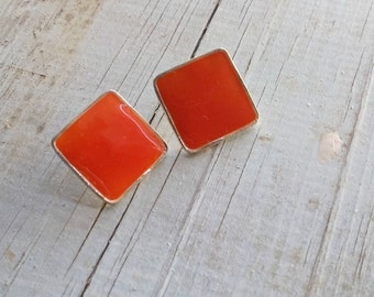 Small Square Earrings Orange, Enamel Stud Earring, Vintage 70s Fashion Earrings Mod Jewelry Mid Century