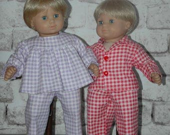 American, made, doll, , flannel, nightgown, pajamas, bitty, twin, 15 inch doll