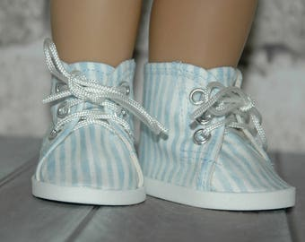High Top, tennis shoes, blue, cotton fabric, made for 18 inch doll, American, made, girl, doll shoes, doll clothes