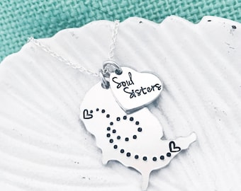 Customizable Soul Sisters United States Long-Distance Heart Necklace - Stamped Map by Eight9Designs With Dots Connecting Hearts Locations