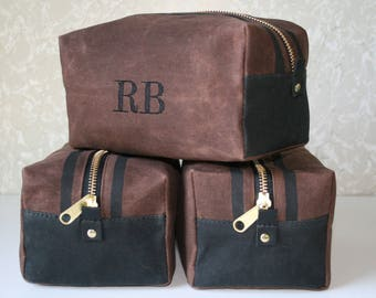 Waxed Canvas Dopp Kit, Shave Kit, Monogrammed Toiletry Bag, Groomsman Gift, Mens Gift, Canvas Bag, Travel Bag, Cosmetic Bag