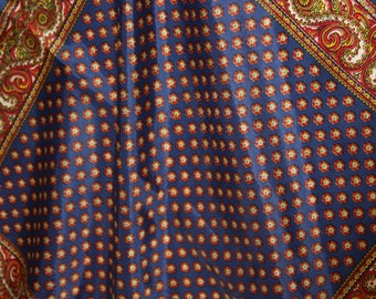 """Paisley Pocket Square  / Scarf - Navy Blue and Red Yellow - 19 x 19"""""""