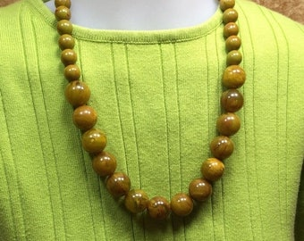 15% OFF Vintage Bakelite EOD Marble Art Deco Graduated Bead Necklace in Greens, Yellows & Reddish Brown