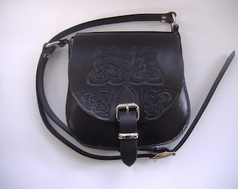 Black saddle bag with Celtic knotwork