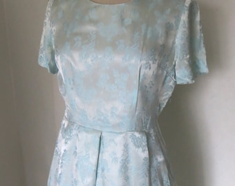 Light teal / Ice blue brocade prom coctail dress 50s 60s