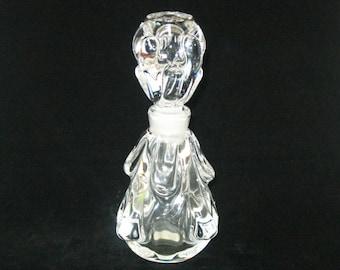Vintage Waltersperger France Modernist Knobbly Crystal Perfume Dresser Bottle Original Label