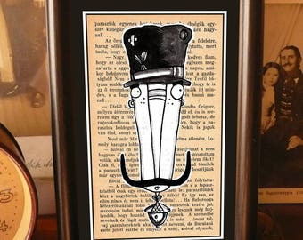 Mustache Guard, framed small wall art, wall decor, digital print in frame