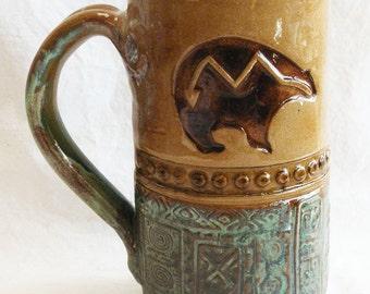 Southwest bear stoneware coffee mug 20oz ceramic 20C049