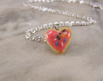 Miniature Heart Shaped Sugar Cookie Polymer Clay Necklace