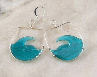 Blue Wave Resin Filled Wire Earrings