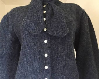 Ralph Lauren / Blue Cardigan / Preppy / Back to School / 80s Clothing / Wool Sweater