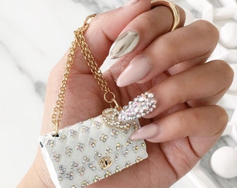 Quilted handbag key chain with Crystals