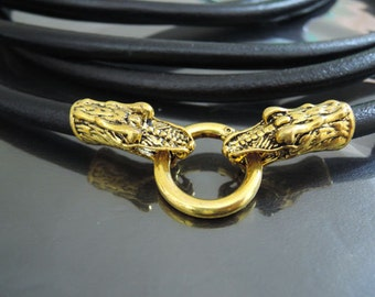 Finding - 1 Set Gold Dragon Head Toggle & Clasp with Openable Ring ( Inside 8mm Diameter )