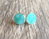 Turquoise Blue Druzy Earrings,  Resin Druzy Earrings, Gemstone Earrings, Druzy Stud Earrings, Silver Druzy Jewelry