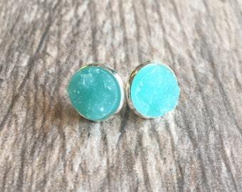 Turquoise Blue Druzy Earrings,  Resin Druzy Earrings, Gemstone Earrings, Druzy Stud Earrings, Silver Druzy Jewelry