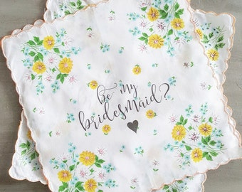 Be My Bridesmaid  Printed Cotton Handkerchief bridesmaid proposal maid of honor proposal matron of honor proposal