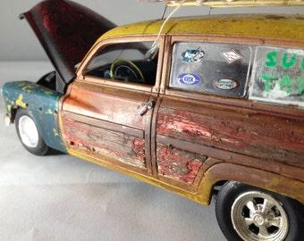 Scale Model Car,Surf Woodie,Classicwrecks,Surfing,Junkyard