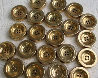 HOLIDAY SALE 20% Off Collection of 20 Gold Buttons...Goldtone Metallic Plated, 4 Hole, Vintage New-Old Stock Unused