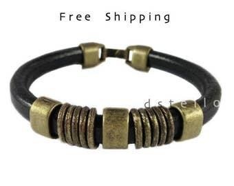 Custom mens bracelet - Mens leather bracelet with antique old gold beads - Rustic vintage look - Gift for men - Custom made