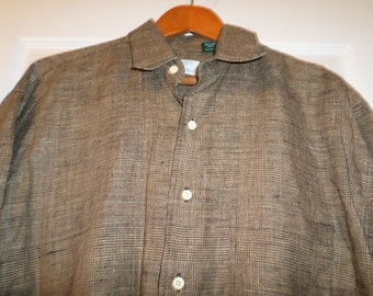 Vintage Mens Gitman Brothers Shirt Oxford Dress Imported Linen Large