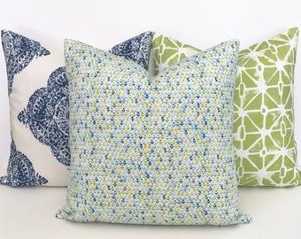 Amar Green, aqua and navy blue small floral block print decorative throw pillow cover