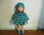 """poncho hat slippers/shoes turquoise set Hand-crocheted to fit 14.5"""" Wellie Wishers Dolls"""