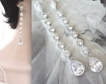 Long Cubic Zirconia earrings, Wedding earrings, Sterling silver posts, Brides earrings, Statement earrings, Sparkly, LUX, STUNNING