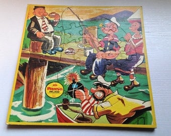 Vintage Popeye and Friends Cardboard Inlaid Puzzle