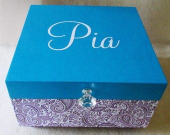 Keepsake Box - Storage Box - Girl Memory Box - Large Keepsake Box - Purple Paisley - Turquoise -  Personalized - Gift